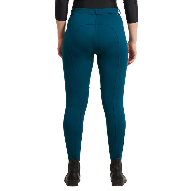 Pantalon chaud équitation femme vert pétrole 100