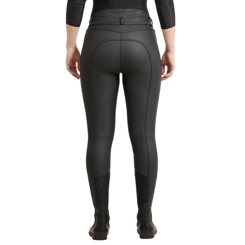 Pantalon chaud et déperlant équitation femme KIPWARM marine noir