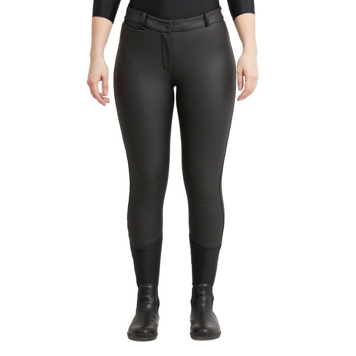 Pantalon chaud et imperméable équitation femme KIPWARM marine noir