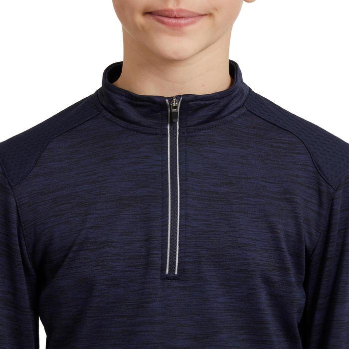 Reit-Poloshirt langarm 500 Warm Kinder marineblau