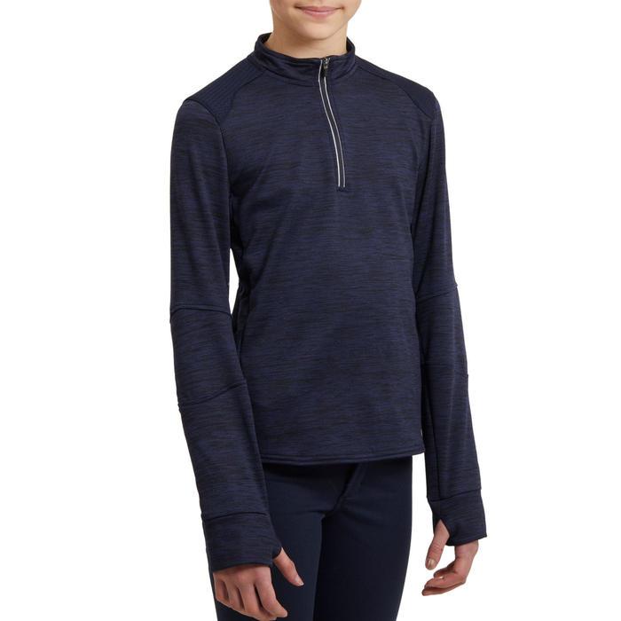 Polo d'équitation enfant à manches longues et chaud 500 WARM bleu marine