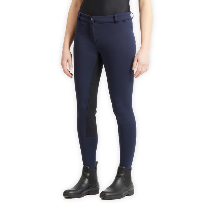 Pantalon chaud fond de peau équitation enfant 180 WARM bleu marine