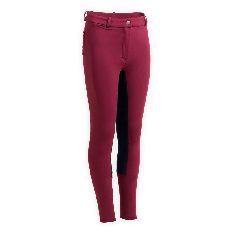 Pantalon chaud fond de peau équitation enfant 180 WARM prune