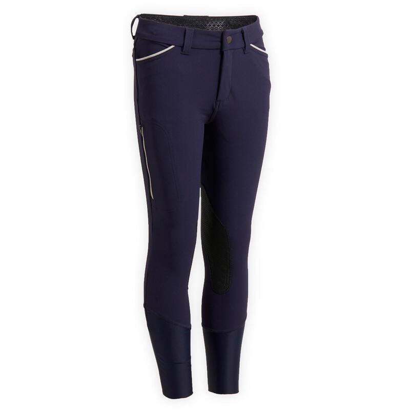 Pantalon équitation enfant BR 500 bleu marine
