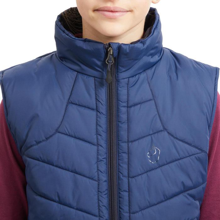 Gilet chaud sans manches équitation enfant 500 WARM bleu nuit