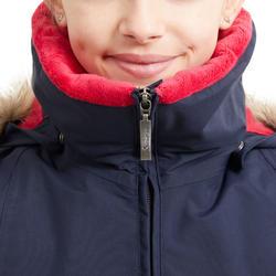 Parka équitation enfant imperméable et chaude 500 WARM marine et rose