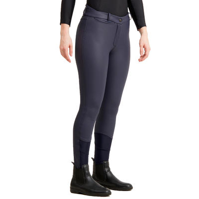 Pantalon chaud et imperméable équitation femme KIPWARM marine
