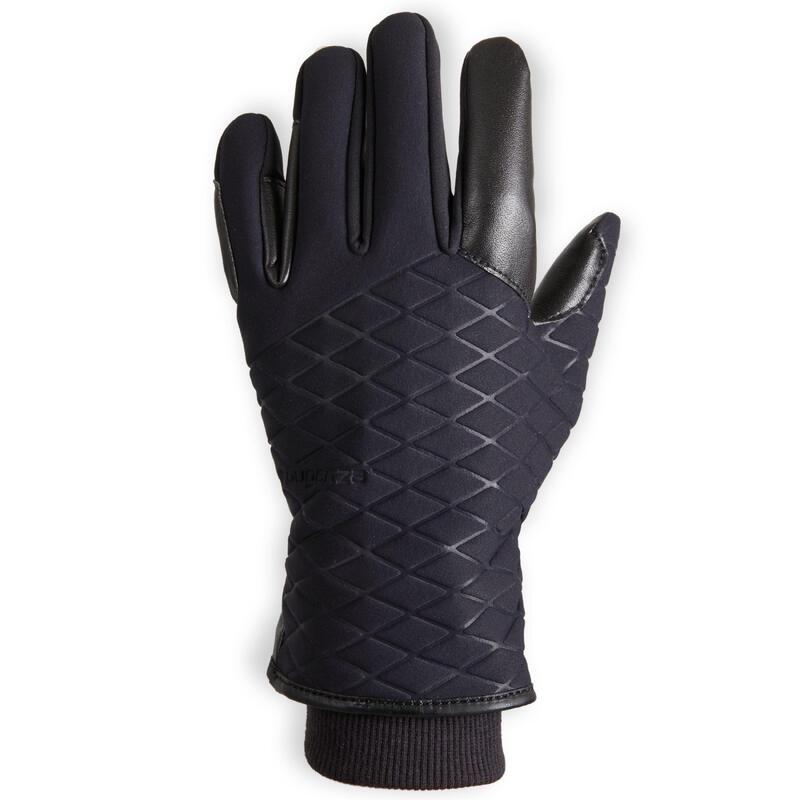 Gants d'équitation chauds et imperméables Enfant - 500 WARM noir