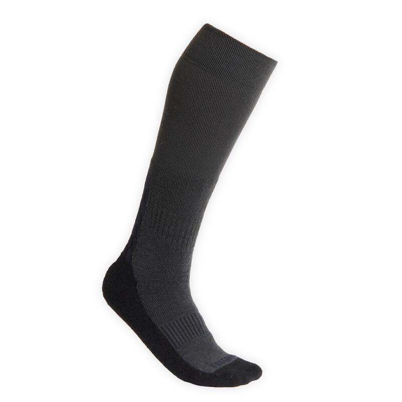 Warme paardrijsokken voor volwassenen 500 Warm grijs en zwart