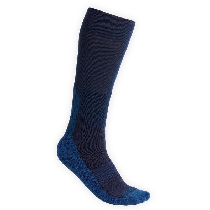 Meias Quentes de Equitação 500 WARM Adulto Azul-marinho/Escuro