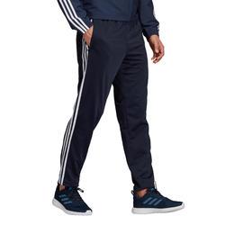 Sportbroek voor cardiofitness drie strepen marineblauw
