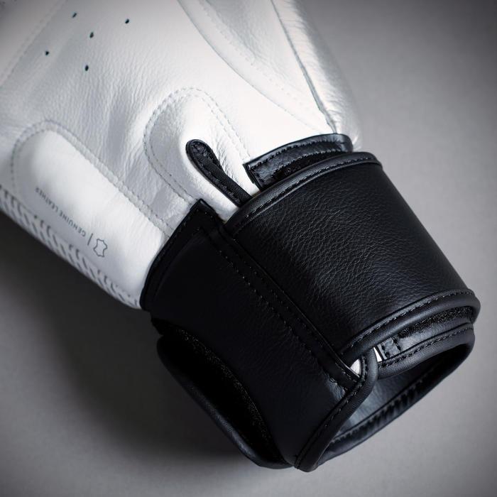 Handschoenen thaiboksen leer 500 wit/zilver