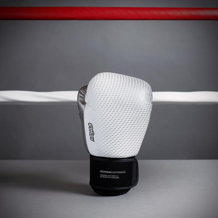 泰拳皮革手套500-白銀配色
