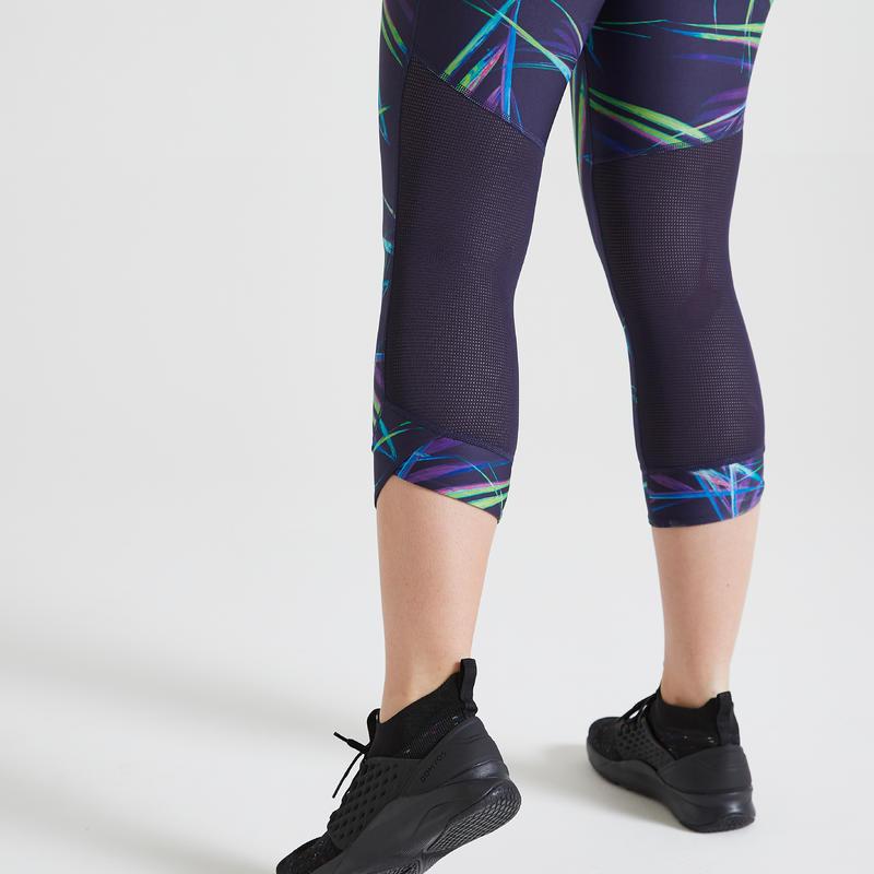 Calzas 7/8 Fitness Cardio Training Mujer Estampado Azul Marino 500R
