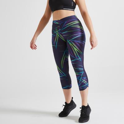 Leggings 7/8 fitness cardio training 500R mujer estampado azul oscuro