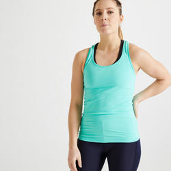Débardeur fitness cardio training femme vert 100