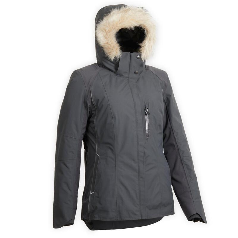 Warme en waterdichte jas voor paardrijden dames grijs 580