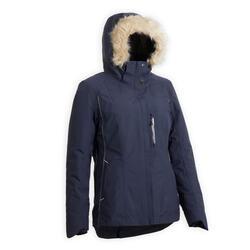 Veste chaude et imperméable équitation 580 WARM femme bleu marine