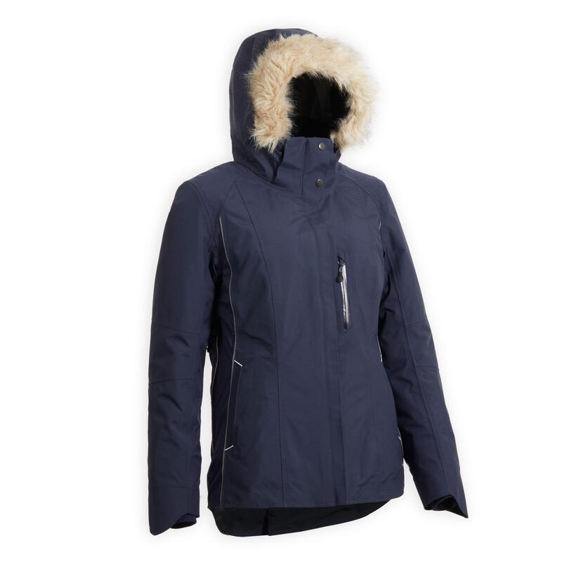 Warme en waterdichte jas voor paardrijden dames marineblauw 580