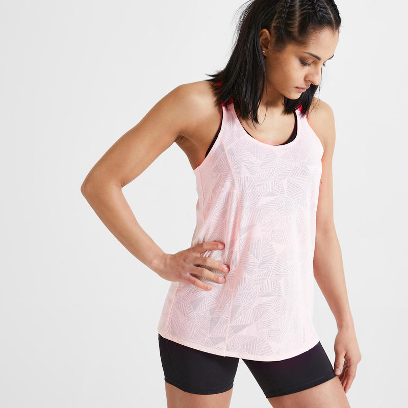 Débardeur Fitness fines bretelles rose clair