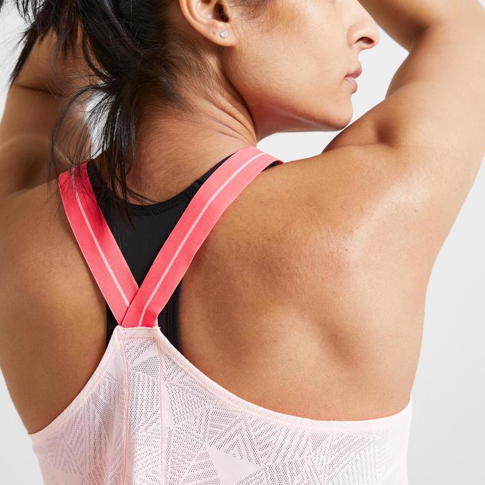 Débardeur fitness cardio training femme rose clair 500