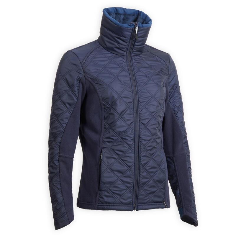 Women's Horse Riding Bi-Material Fleece 500 Warm - Navy Blue