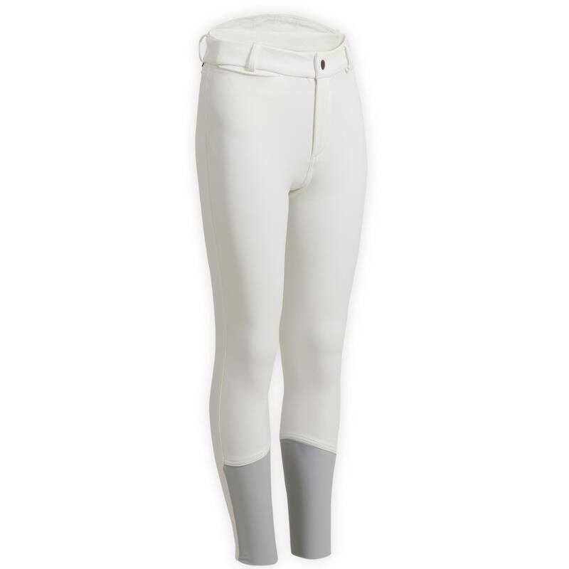Pantalon concours chaud et déperlant équitation enfant KIPWARM blanc