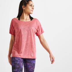 女款有氧健身訓練T恤500 - 粉色