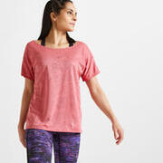 Women Loose Polyester Fitness T-Shirt - Pink