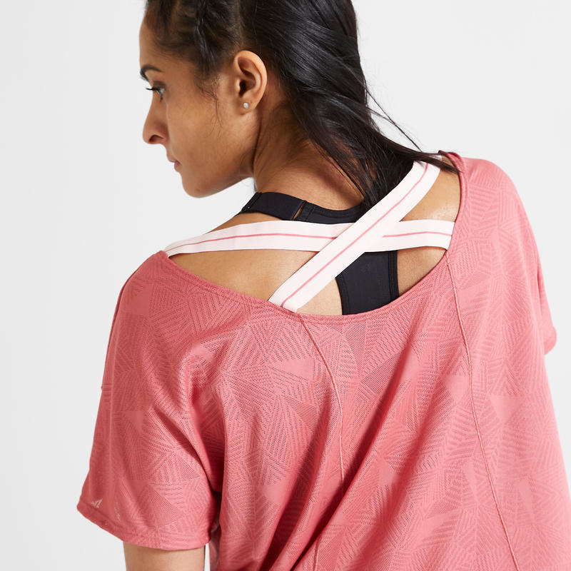 เสื้อยืดผู้หญิงสำหรับใส่ออกกำลังกายแบบคาร์ดิโอรุ่น 500 (สีชมพู)