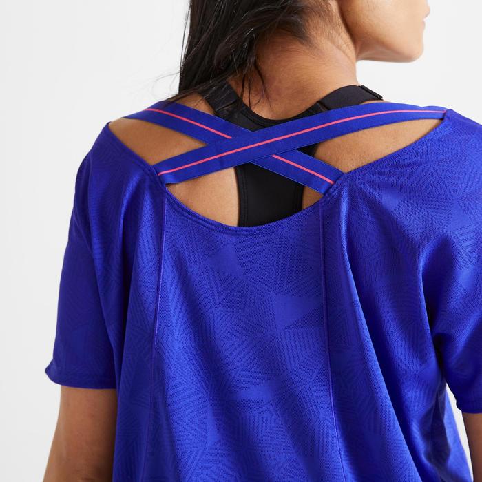 T-shirt voor cardiofitness dames 500 blauw