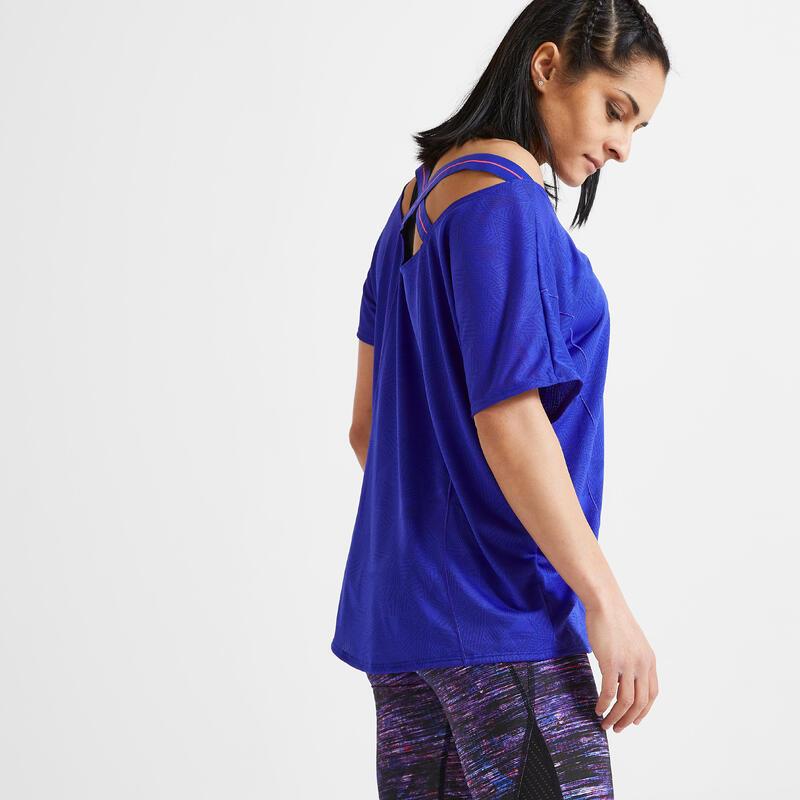 Wijd T-shirt voor fitness blauw