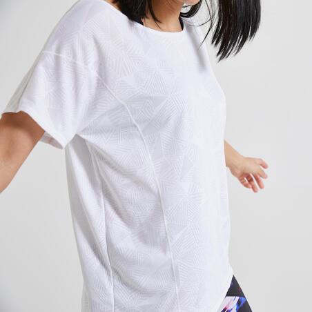 Футболка жіноча 500 для кардіофітнесу - Біла