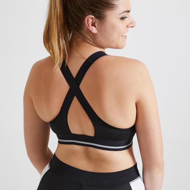 Women's Medium Support Fitness Sports Bra - Black