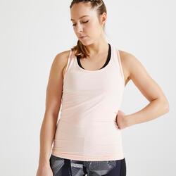 女款有氧健身運動背心100 - 淡粉色