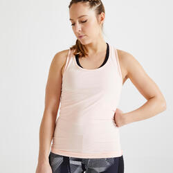 Débardeur fitness cardio training femme rose clair 100