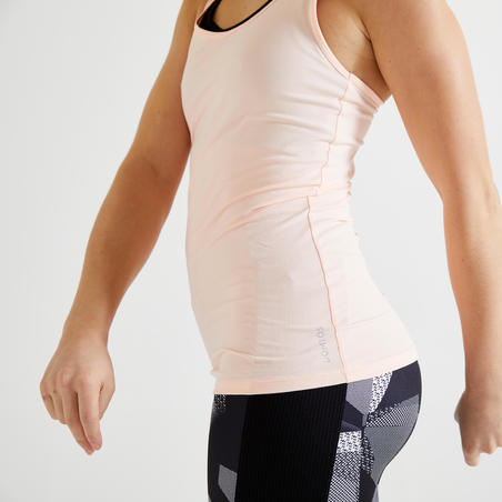 """Sieviešu fitnesa kardio treniņu bezpiedurkņu krekls """"100"""", gaiši rozā"""