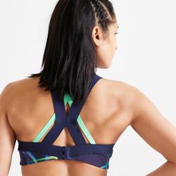 Brassière fitness cardio training femme imprimé bleu marine 520