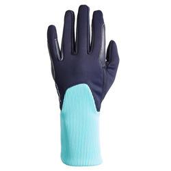 Gants chauds d'équitation enfant 140 WARM marine et turquoise