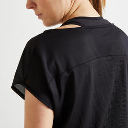 T-shirt fitness cardio training femme gris chiné 120