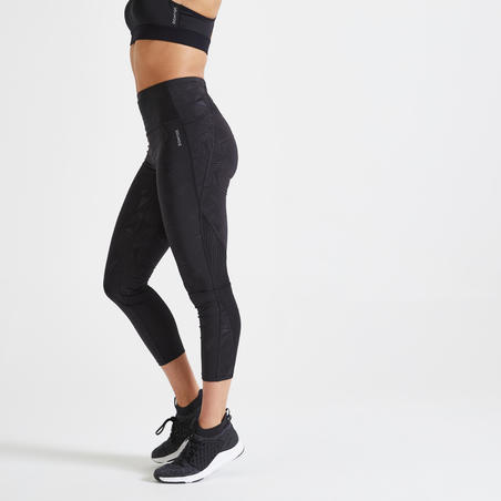 Mallas Leggings 7/8 fitness mujer 500A negro estampado