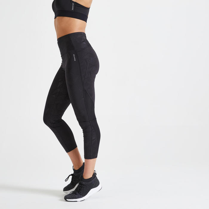 Women's 7/8-Length Cardio Fitness Leggings 500A - Printed Black