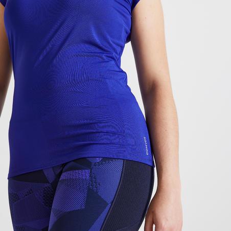 Playera manga corta de fitness mujer 100 azul transpirable