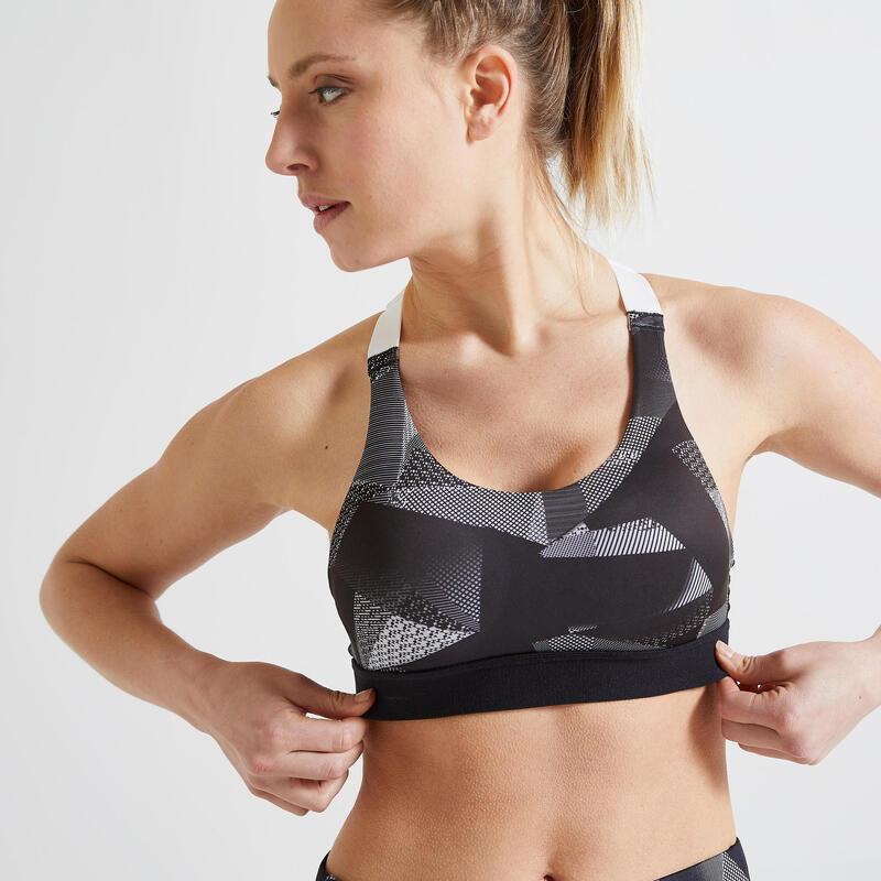 Brassière cardio fitness cardio training femme imprimé blanc et noir 900