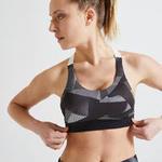 Domyos Sportbeha voor cardiofitness 900 met zwart/wit print