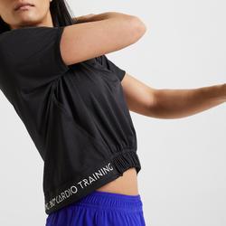 女款有氧健身訓練T恤520 - 黑色