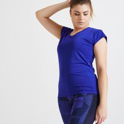 T-shirt voor cardiofitness dames slim fit blauw