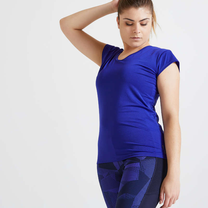 Îmbrăcăminte cardio fitness damă - Tricou Fitness Cardio 100 damă DOMYOS