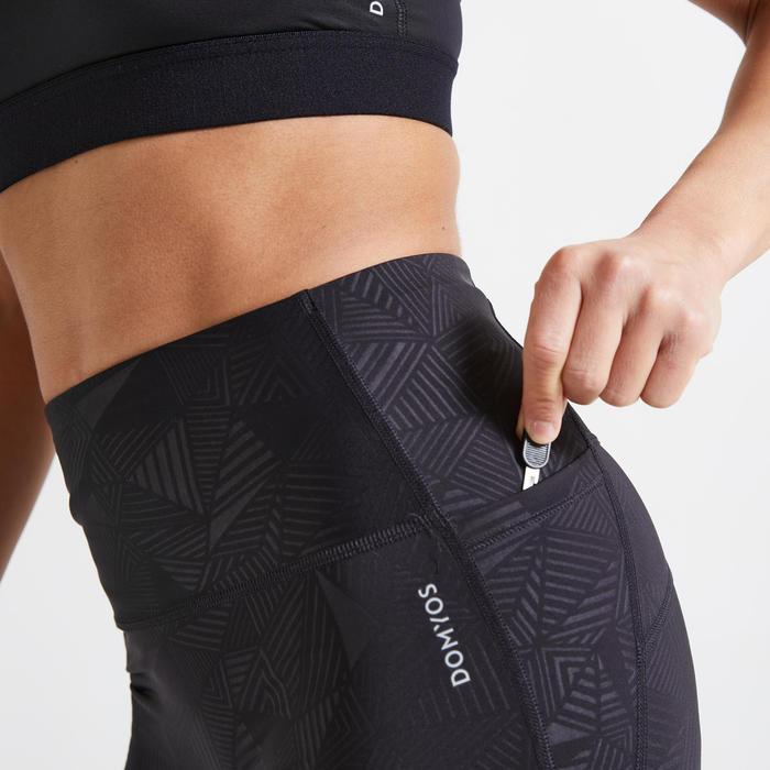 女款有氧健身7/8分緊身褲500A - 黑色印花
