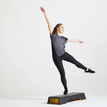 Playera fitness cardio-training mujer gris jaspeado 120